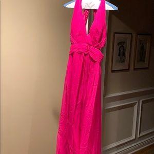Bright pink silk lined full length dress